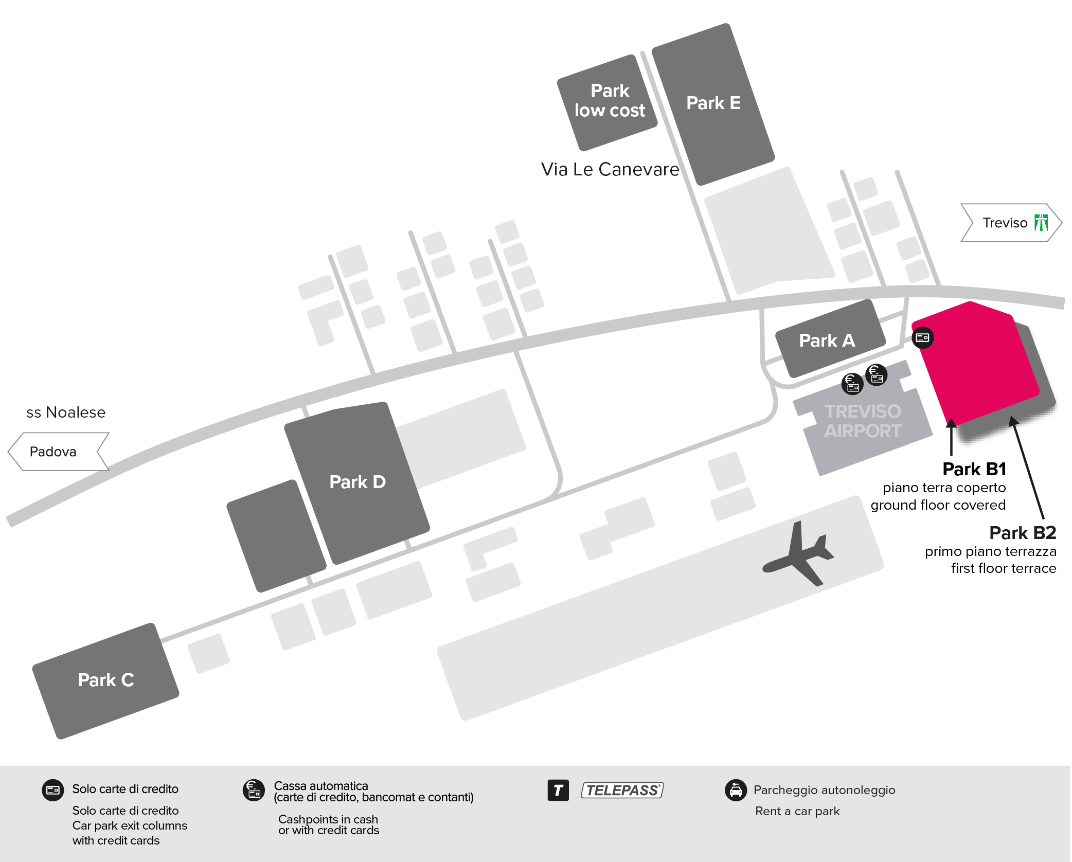 Treviso airport parking Park B1 map